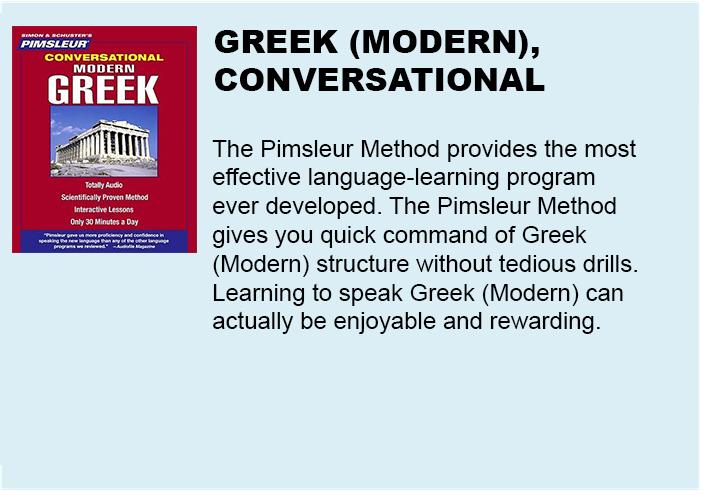 Pimsleur Conversational Modern Greek- 8 Audio CDs – Learn to
