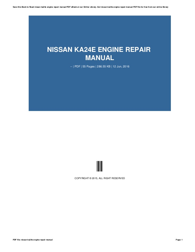 Nissan VG30E engine factory workshop and repair manual download